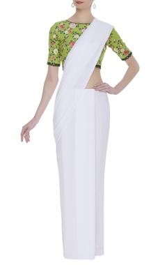 Embroidered floral motif sari blouse