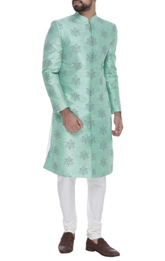 SS HOMME- Sarah & Sandeep Raw silk embroidered sherwani with trousers