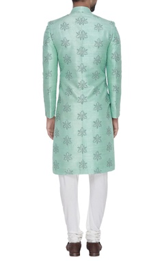 Raw silk embroidered sherwani with trousers