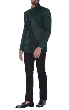 SS HOMME- Sarah & Sandeep Bandhgala in ombre colored embroidery