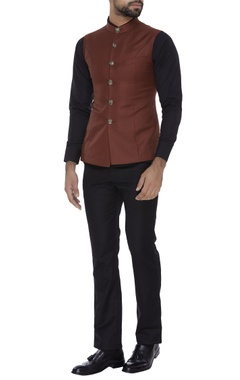 Classic nehru jacket with embossed buttons