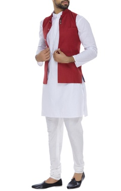 Nehru jacket with concealed button placket