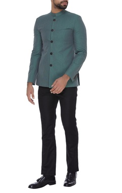 SS HOMME- Sarah & Sandeep Textured bandhgala with full sleeves