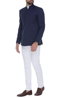 SS HOMME- Sarah & Sandeep Check bandhgala with chest pocket