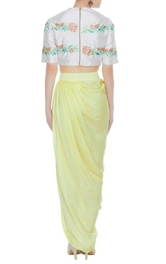 Raw silk embroidered crop top with dhoti skirt