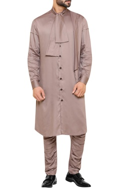 Draped kurta with attached scarf and pants