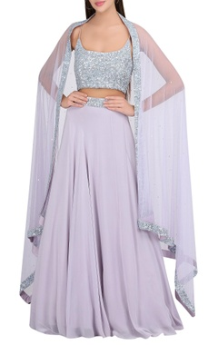 Embroidered lehenga with dupatta & blouse