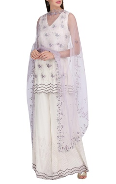 Floral embroidered kurta with flared pants & dupatta