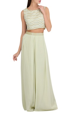 Hand embroidered crop top & palazzo pants