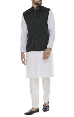 Organic silk embellished collar nehru jacket