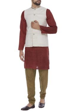 Organic silk hand embroidered nehru jacket