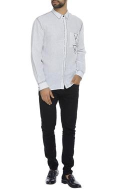 Organic linen silk shirt with running stitch embroidery