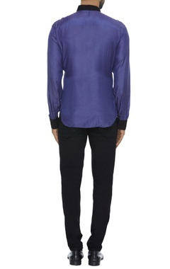 Color block organic silk shirt