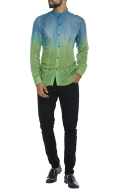Ombre naturally dyed organic silk shirt
