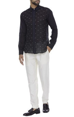 Organic linen french knot embroidered shirt