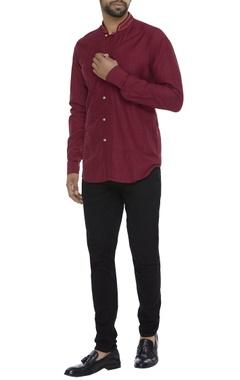 Organic ahimsa silk nehru collar shirt