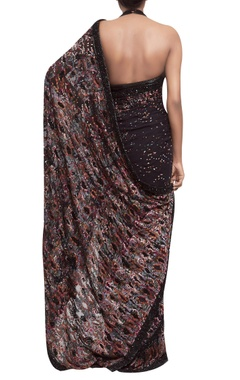 Chiffon sari with halter blouse