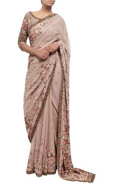 Embroidered chiffon sari with blouse