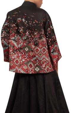 Sequin blouse with organza lehenga & jacket