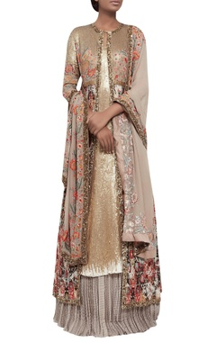 Ikat jacket with lehenga & sequin kurta set