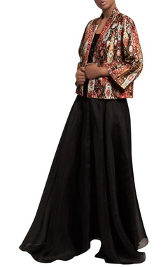 Nakul Sen Sequin embroidered top with skirt & cambric jacket