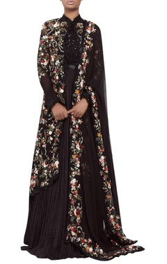 Nakul Sen Crushed chiffon anarkali set with sequin embroidery