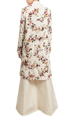 Floral embroidered mid-length jacket palazzo set