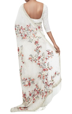 Chiffon floral embroidered garden sari with blouse