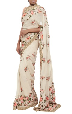 Sequin & floral embroidered sari with blouse