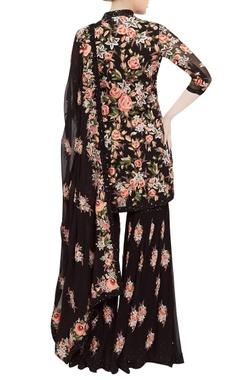 Jamavar floral embroidered kurta sharara set