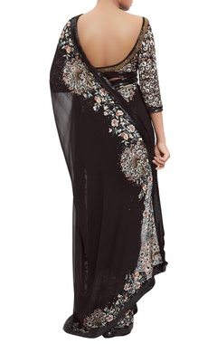 Chiffon parsi floral embroidered sari with blouse