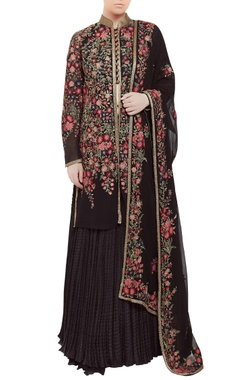 Kashmiri embroidered jacket lehenga set
