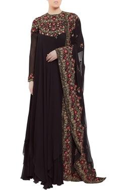Chiffon kashmiri floral embroidered asymmetric kurta set