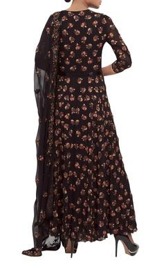 Hand embroidered floral kalidar kurta set