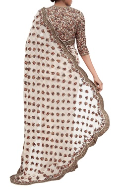 Chiffon floral embroidered sari with blouse