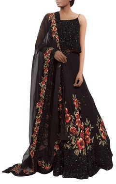 Sequin thread embroidered lehenga set