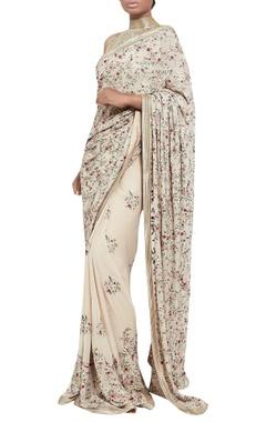Kashmiri dorukha embroidered sari with blouse
