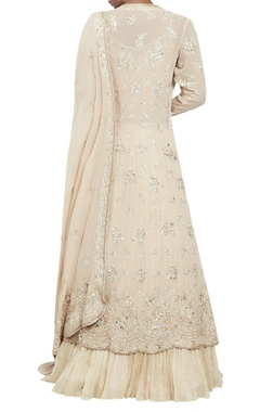 Chiffon chikankari embroidered jacket lehenga set