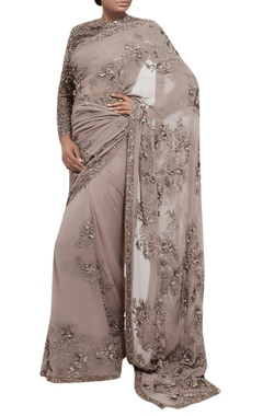 Sequin 3D floral embroidered sari with blouse