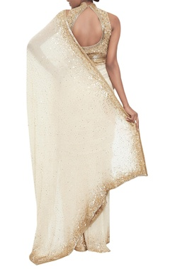 Sequin embroidered sari with halter blouse