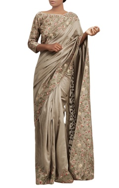 Nakul Sen Jaal border embroidered sari with blouse