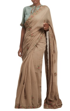 Nakul Sen Embroidered sari with frill sleeves blouse