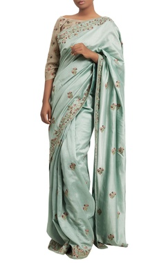 Nakul Sen Embroidered sari with contrast blouse