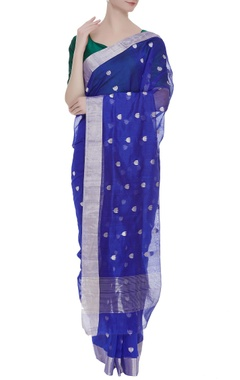 Pure chanderi sari with lotus motifs & unstitched blouse