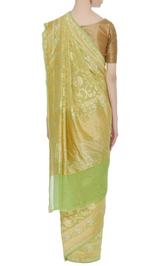 Pure banarasi georgette sari & unstitched blouse