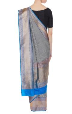 Checkered banarasi silk sari with blue palla & border