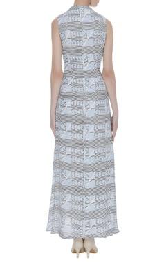 Paneled block printed maxi dress