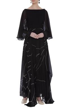 Vedika M Textured yoke drapped maxi dress