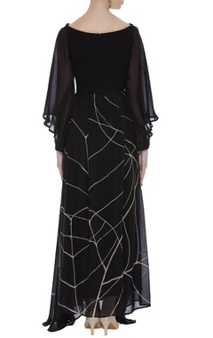 Textured yoke drapped maxi dress