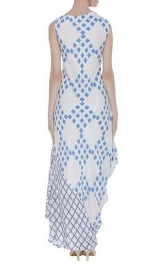 Draped block printed dress